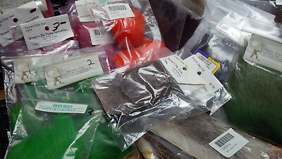 Deer Hair Pieces, Assorted types and sizes, dyed and natural