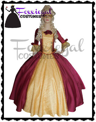 42450212cfd35 Masquerade Ball Maroon Gown Fancy Dress Costume Victorian Marie Antoinette  8-10