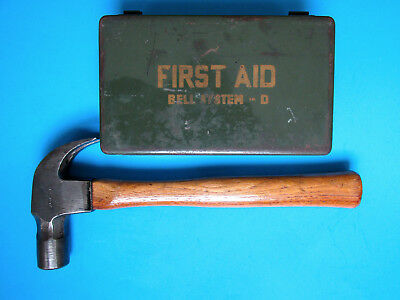 Vintage BELL SYSTEM CLAW HAMMER and BELL TELEPHONE FIRST AID KIT - NICE TOOL BOX