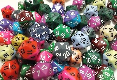 Chessex (5) D20 Random Color Polyhedral 20 Sided Dice Set, Gaming Lot D&D RPG