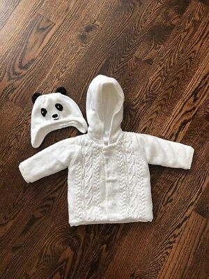 Janie and Jack Hooded Sweater Coat Jacket 6-12 Months W Panda Hat