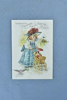 Antique ADVERTISING VICTORIAN TRADE CARD STANDARD SEWING MACHINE GIRL BUGGY 5007