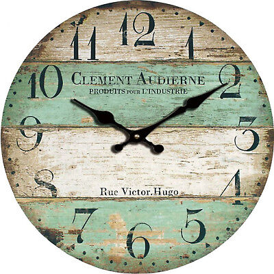 Battery Operated Vintage Wall Clock Rustic Home Decor Design Round Wood Clocks