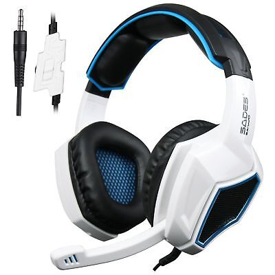 Sades SA-920 Stereo Gaming Headphone Headset with Mic for PC Xbox PS4 Pro White