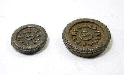 Original Vintage Indian Iron Set Of 2 Old Weight Measurement Size Scale. G15-205