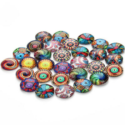 30pcs12mm Domed Round Glass Flat Back Bead Cabochon Mixed Style Fit Bracelet DIY