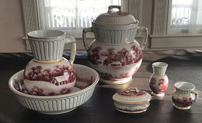 Excellent Complete 6 Pc Stone China Toiletry Commode Chamber Pot Set
