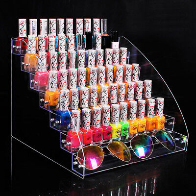 2-7 Layer Acrylic Nail Polish Holder Display Makeup Organizer Storage Clear Rack