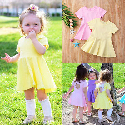 Lovely Newborn Kids Baby Girl Clothes Backless Twins Matching Party Dress Summer
