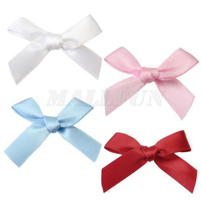 100 Pcs Mini Satin Ribbon Flowers Bows Gift-Craft Wedding Decoration Pick DIY