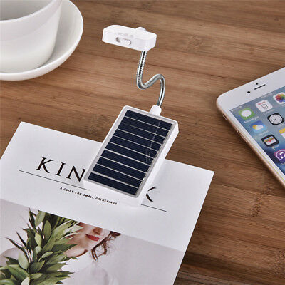 Portable Solar Book Light USB Rechargeable LED 5V 3W Clip on Book Reading Lamp