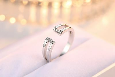 Simple Fashion 925 Sterling Silver Zircon Crystal Adjustable Ring Jewelry J-140