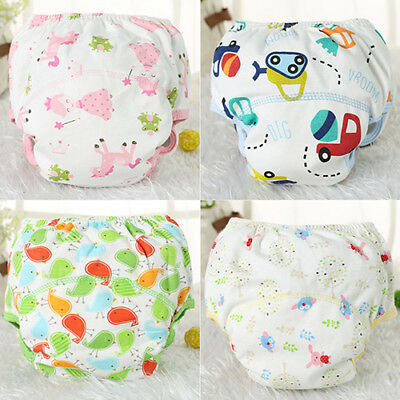 Baby Infant Reusable Washable Underpant Traning Pant Cotton Diapers Trousers Bri