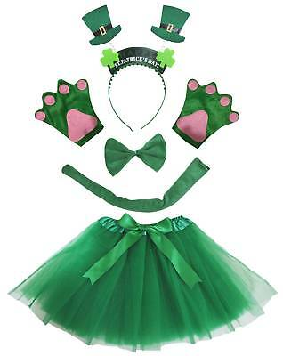 St.Patrick's Day Hat Headband Bow Tail Paw Skirt 5p Girl Kid Party Costume