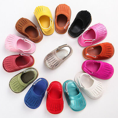 USA Newborn Baby Girl Bow Tassel Crib Shoes Soft Sole Sneakers Moccasins 0-18M