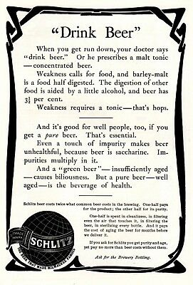 1902 ad vintage Schlitz Beer Run Down Doctor Says Drink Beer Armour's Soups