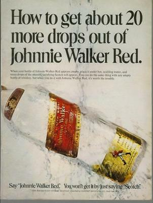 1974 Johnnie Walker Red 20 More Drops Scotch Bottle Water Vintage Print Ad 1970s