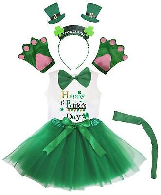 Party Kid Girl St.Patrick's Day Hat 6p Headband Paw Tail Bow Shirt Skirt Costume