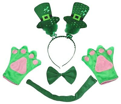 St.Patrick's Day Adult Sequins Hat Headband Paw Tail Bow Costume 4p