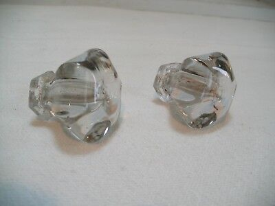 Vintage Pair of Clear Glass Cabinet Door KNOBS Handle Pull Six Sides Shorter