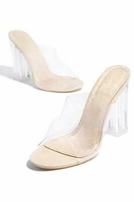 5fe67ba8b64 Cape Robbin Maria-2 Nude Transparent Lucite Clear Strappy High heel Open  Sandals