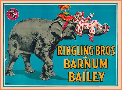 Ringling Bros Barnum & Bailey Elephant  Clown Vintage Circus Travel Poster