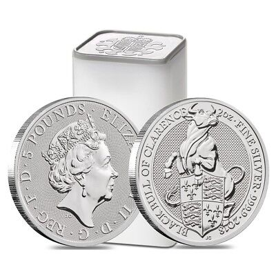 Sale Price - Roll of 10-2018 Great Britain 2 oz Silver Queen's Beast Black Bull