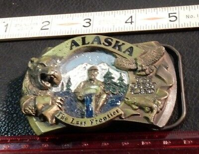 "Vintage "" Alaska The Last Frontier""  Pewter Belt Buckle #1632 1986 USA excl.cond"