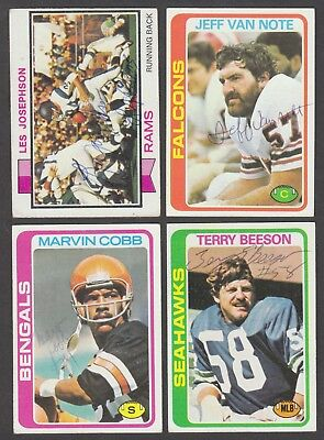 Lot of (4) 1970's Topps Autographed NFL Football Signed Auto Vintage Cards