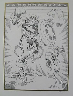 JACK KIRBY Limited Edition print CAPTAIN AMERICA 50th birthday commemorative