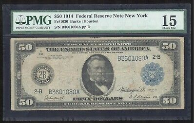 1914 US $50 Federal Reserve Note, New York, Blue Seal, PMG Ch Fine 15 Fr#1030
