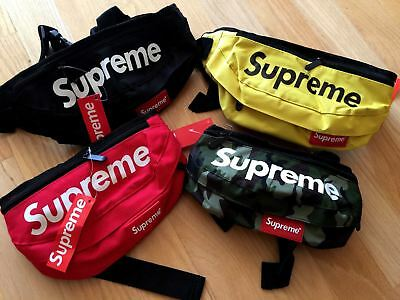 AUTHENTIC 100 %  Supreme Shoulder Bag Logo Waist Pack BLACK RED CAMO YELLOW