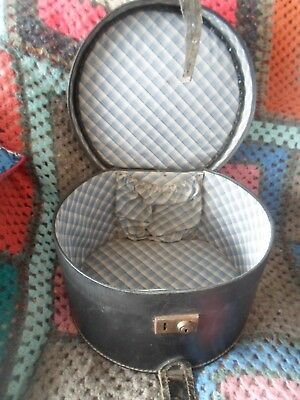 Very Tatty Old Black 1960s Hat Box Train Case - Best Suited For Display or Prop