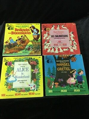 Vintage Disney Book And Record Lot Of 8