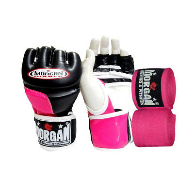Morgan Diabla Ladies MMA Gloves Boxing Punching UFC Fight Pads Hand Wraps Small