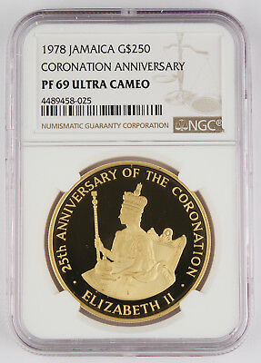 Jamaica 1978 $250 Proof 1.25 Oz Gold Coin NGC PF69 UC Coronation Anniversary GEM