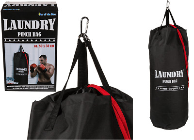 Laundry Storage & Boxing Star Punch Bag Durable Canvas Hanging Sack Black New
