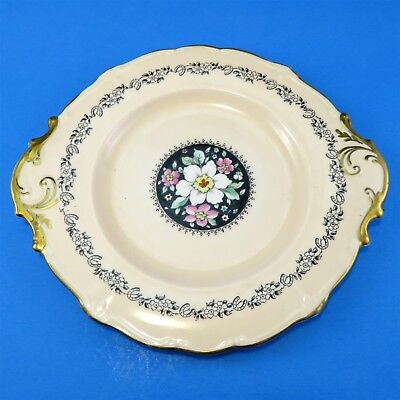 """Hand Painted Florals on Black with Peach Border Paragon Cake Plate 9 5/8"""""""