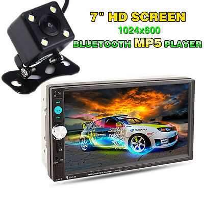"""Bluetooth 7"""" Double 2DIN Car MP5 Player HD Touch Screen Stereo Radio & Camera"""