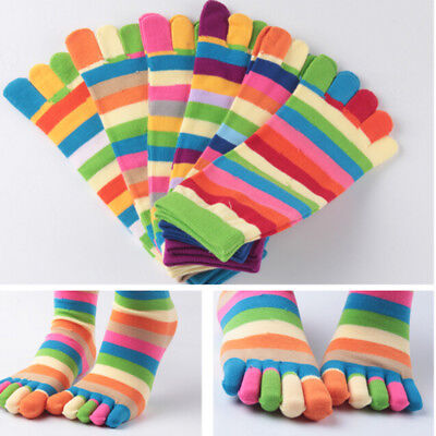 1* Pairs Wholesale Colorful Women's Girl Color Stripes Five Finger Toe Socks KW