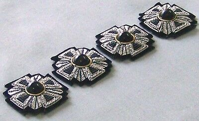 4 Hand-Embroidered Cross Appliques Silver Bullion Silver Black Gold Vestment