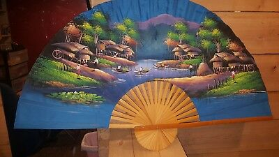 Large Fabric Japanese Decorative hand painted Wall Fan Painted 60x35 Inches