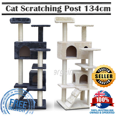Cat Tree Gym Tower Scratching Post Pet Bed House Furniture Beige Grey 134cm New
