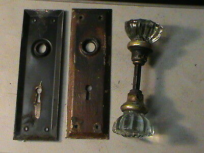 Vintage Clear Glass Door Knob Assembly with face plates