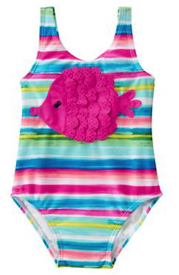 NEW NWT Girls Gymboree Tidal Blue FISH Stripe 1-pc Swimsuit Swim Suit Size 5T 5
