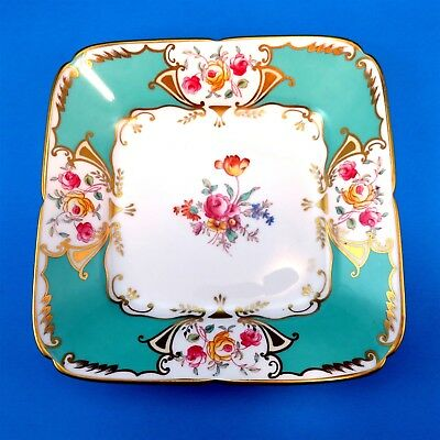 Square Hand Painted Floral & Teal Deep Royal Chelsea Cake Plate 8 1/4""
