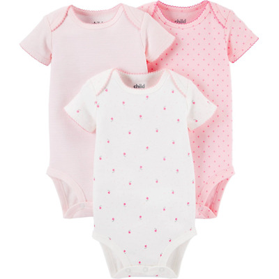 2d1dd0086f433 Child Of Mine by Carters Baby Girl Short Sleeve Bodysuits 3-Pack, Pink Set