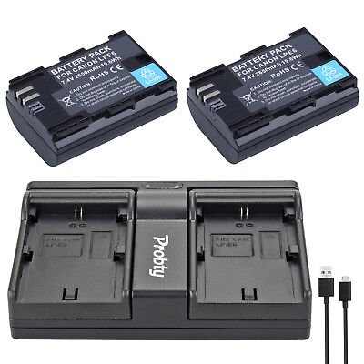 2Pcs LP-E6  + USB Dual Charger for Canon EOS 5D 5D2 5DS R Mark II 2 III 6D 60D