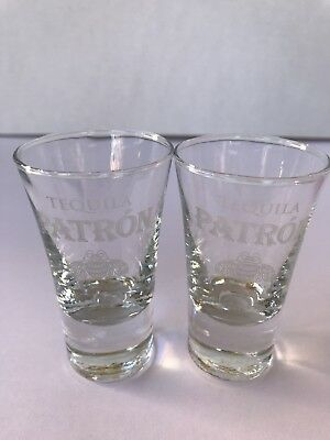 "Patron Shooter Shot glasses 4"" tall Tequila New Set of 2"