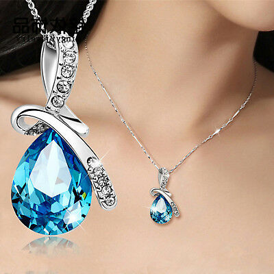 Fashion Lady Silver Chain Crystal Rhinestone Pendant Necklace Jewelry Gift